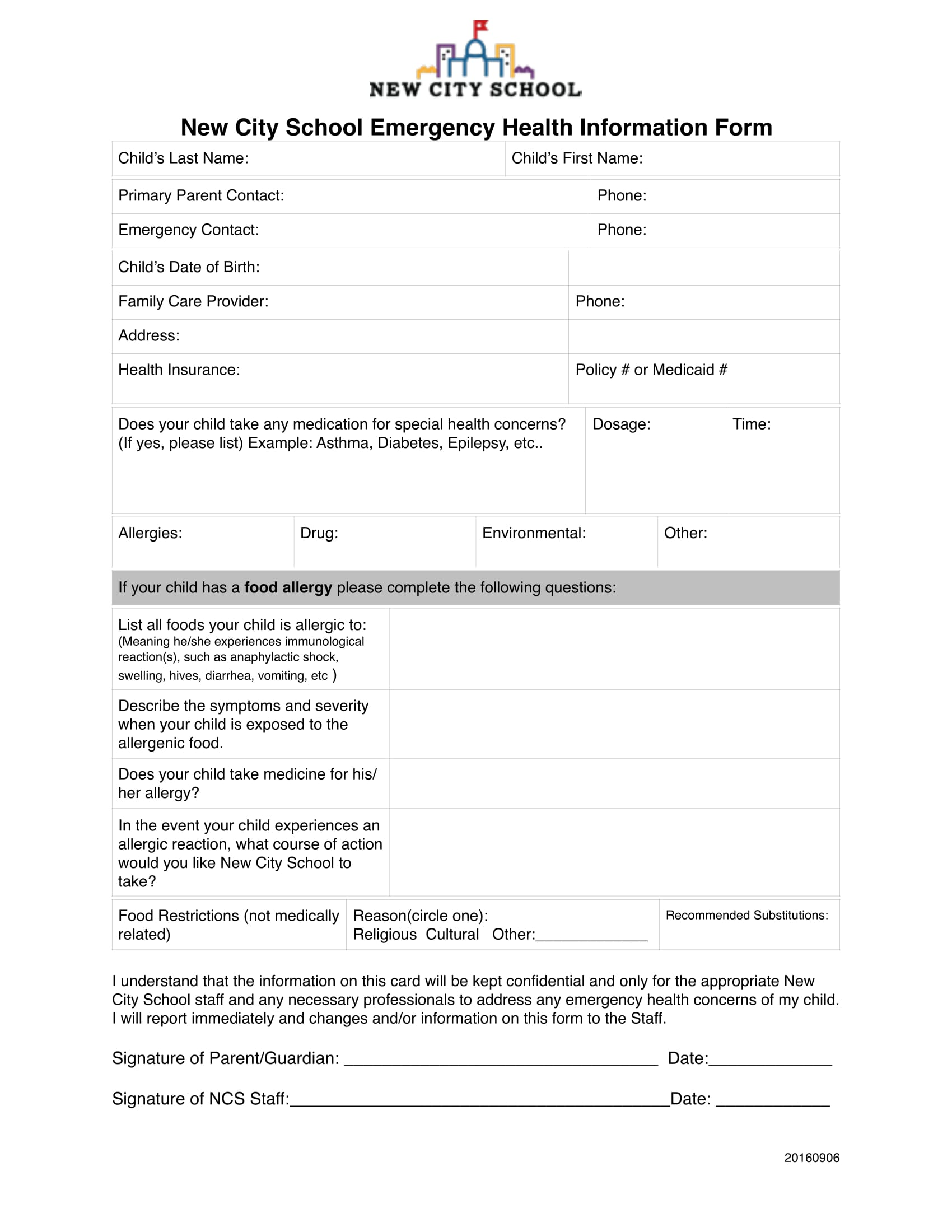 emergency health information form 1