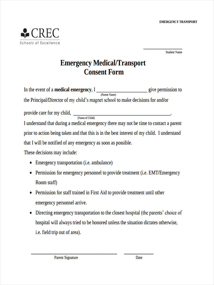 emergency transport consent