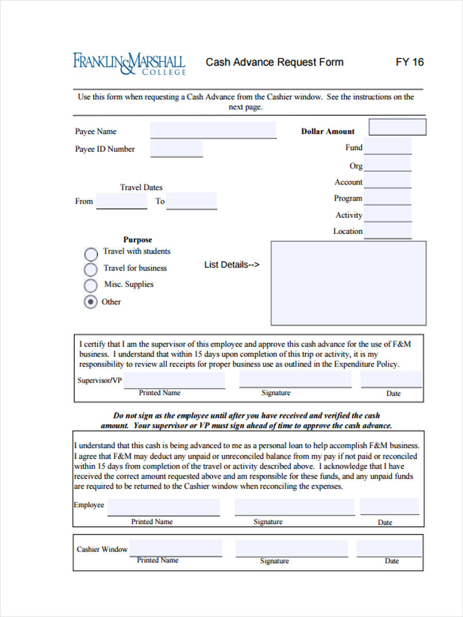 Employee Advance Form | 50 Sample Employee Request Forms