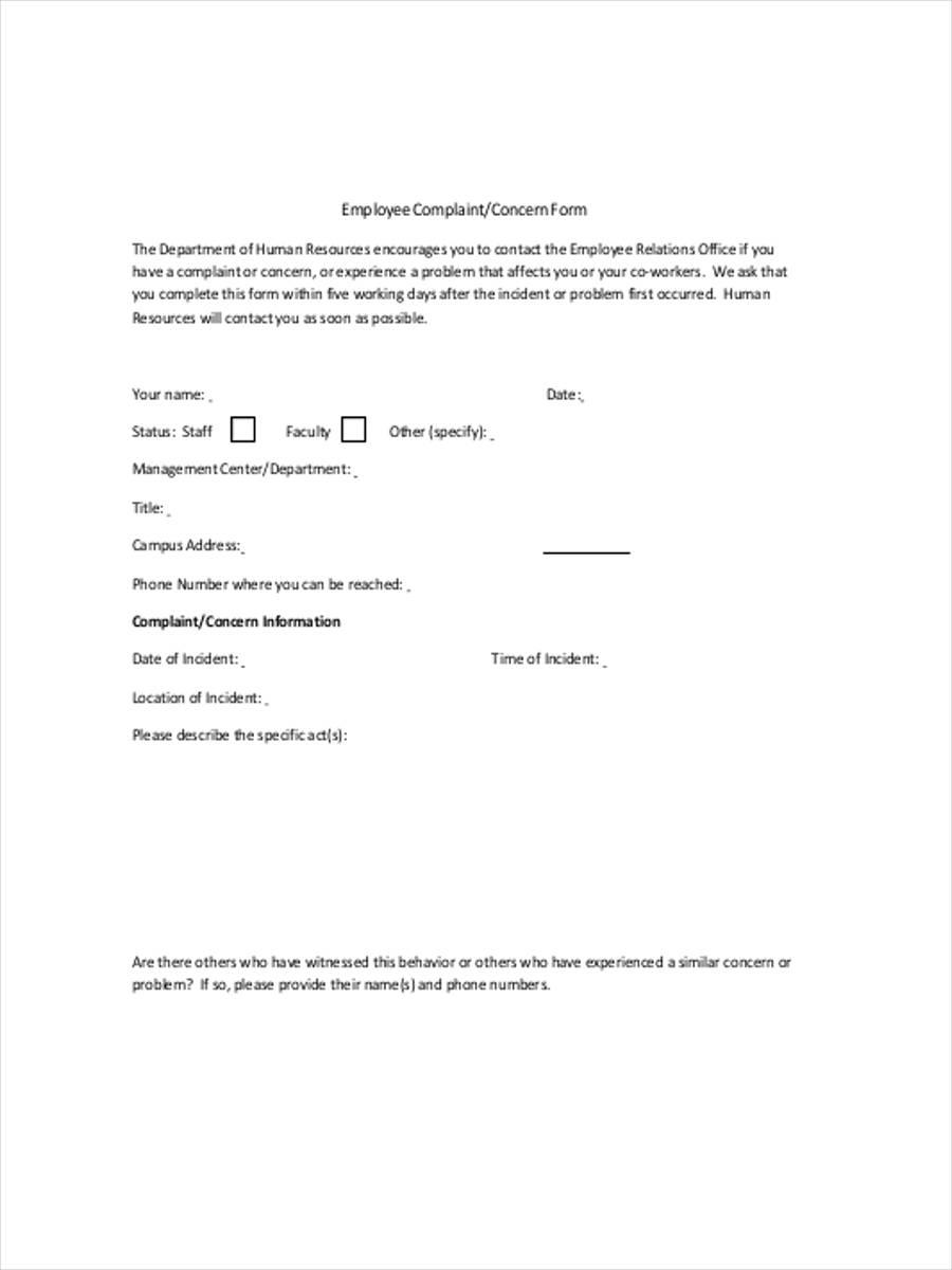 employee complaint concern form