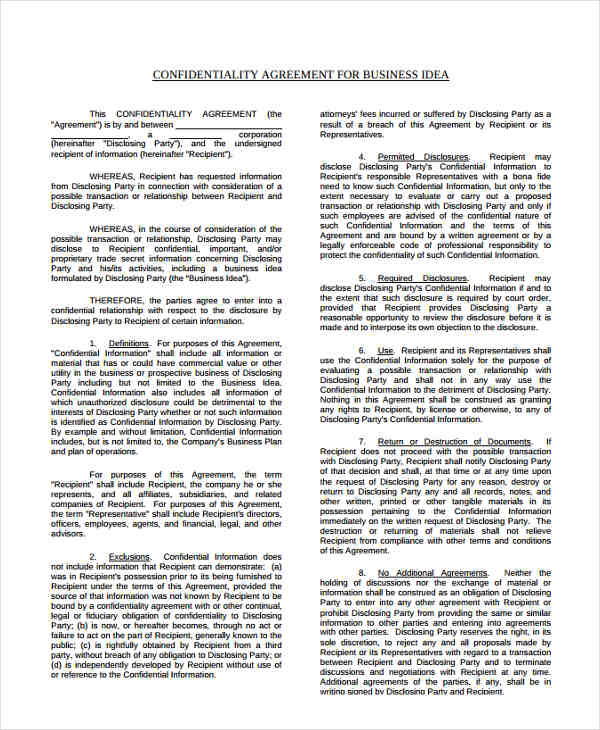 employee confidentiality business agreement form