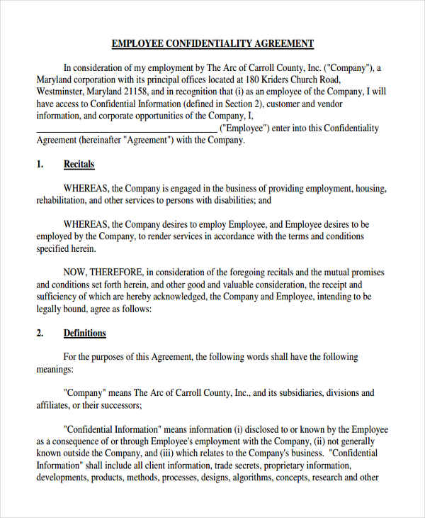 employee confidentiality business agreement form1
