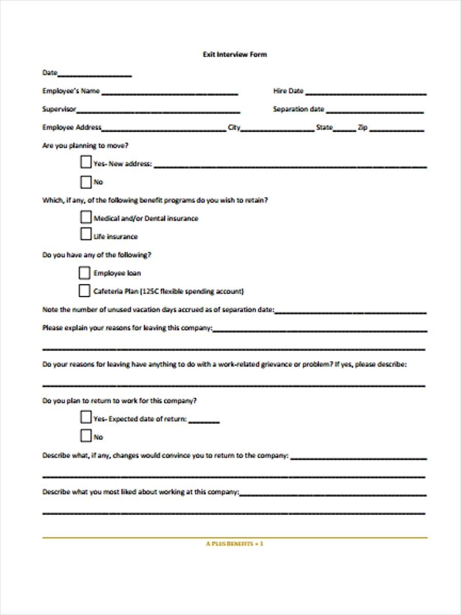 38 interview form templates for Employee exit interview questions template