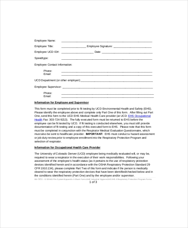 employee respirator clearance approval form
