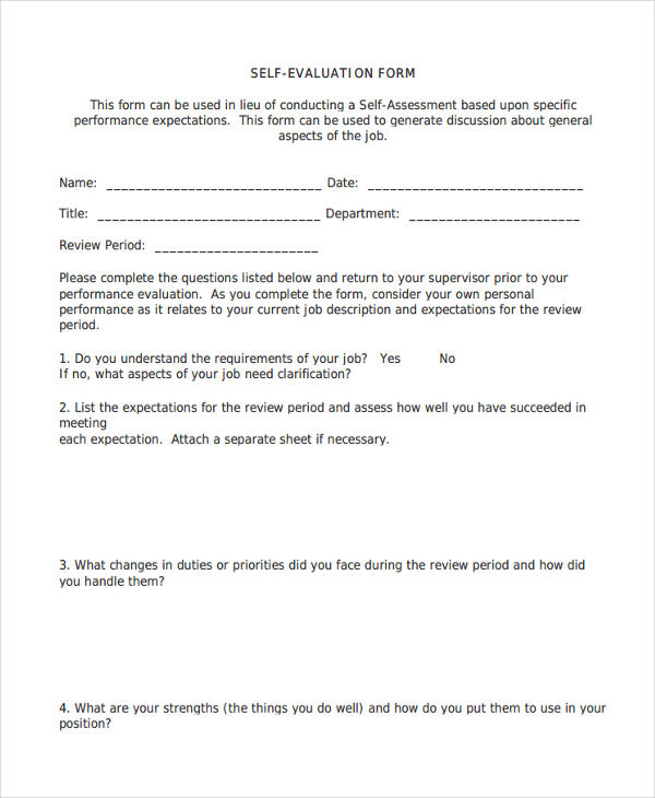 Sample Self Evaluation Forms