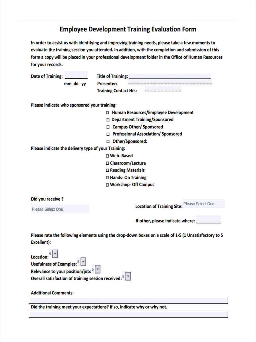 15 Training Feedback Forms In Pdf