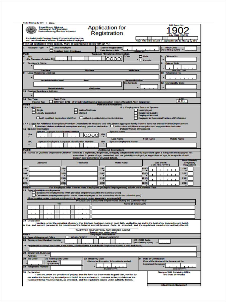 employment status registration form
