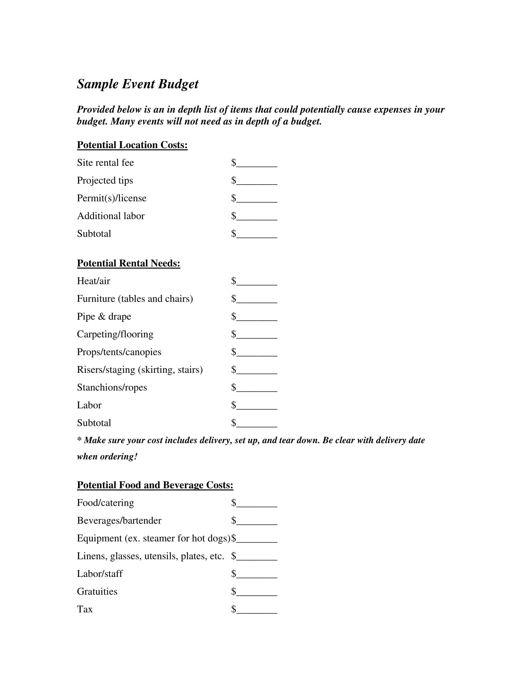 event budget form sample 1