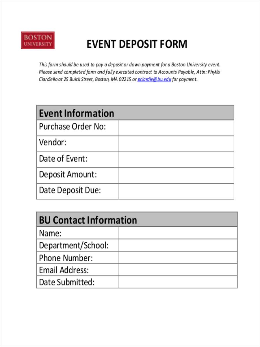 event deposit form