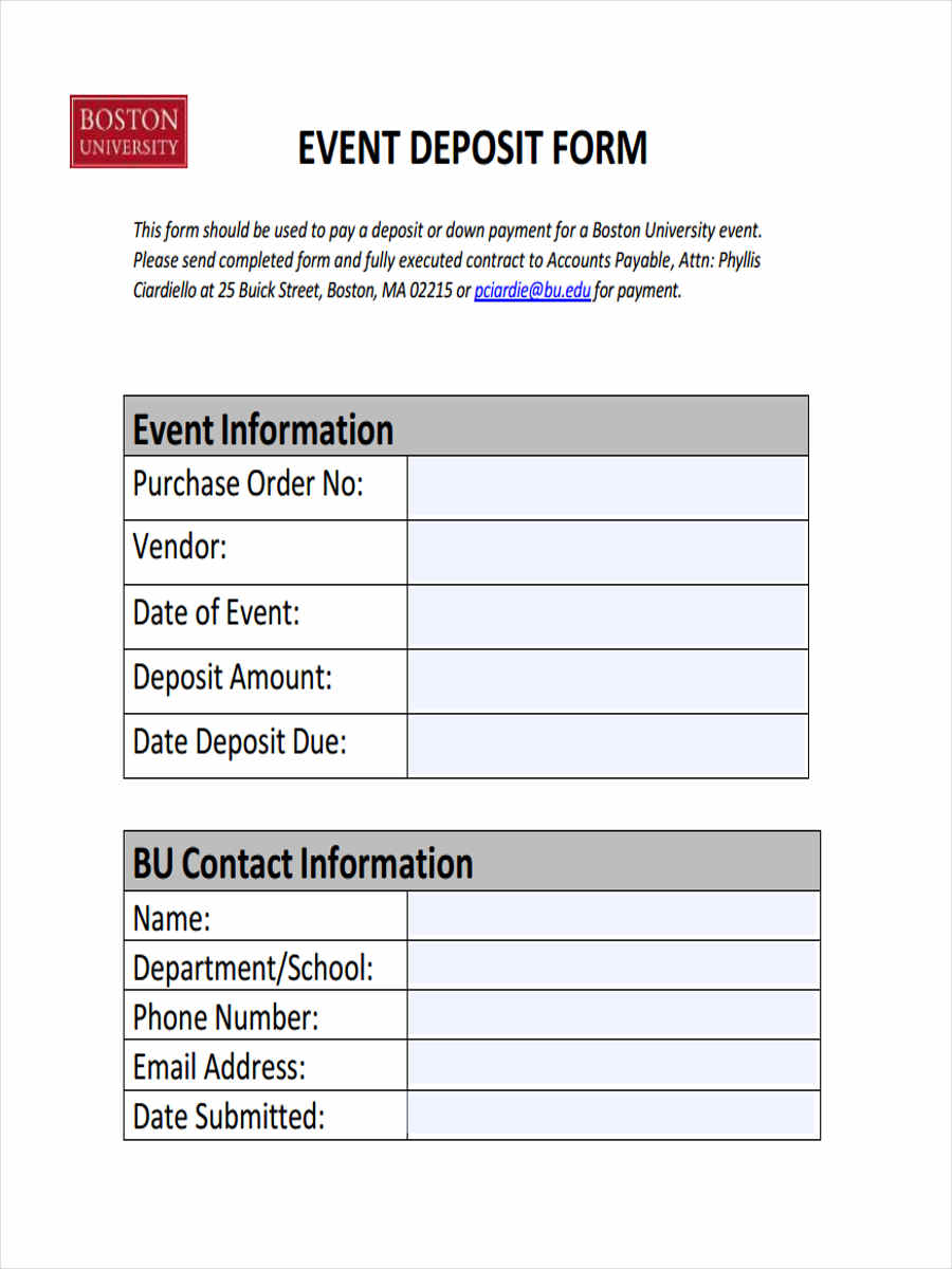 Free 31 Deposit Form Templates Pdf