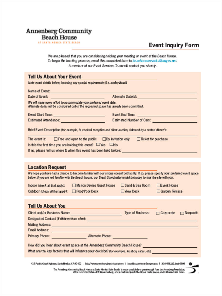 event planning inquiry
