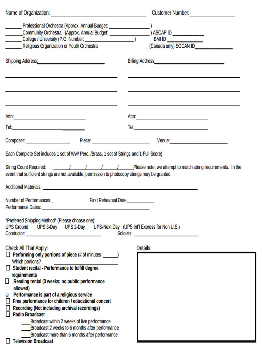 event rental order