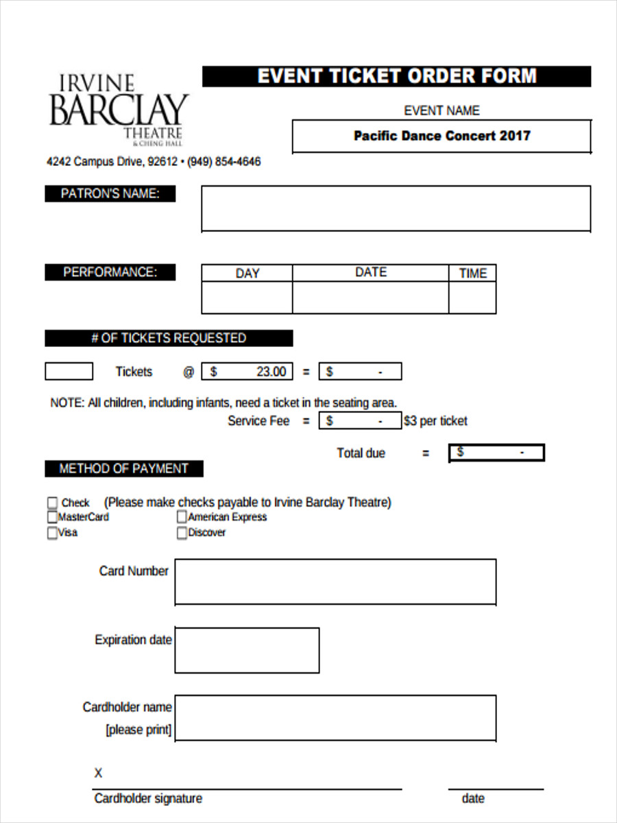event ticket order