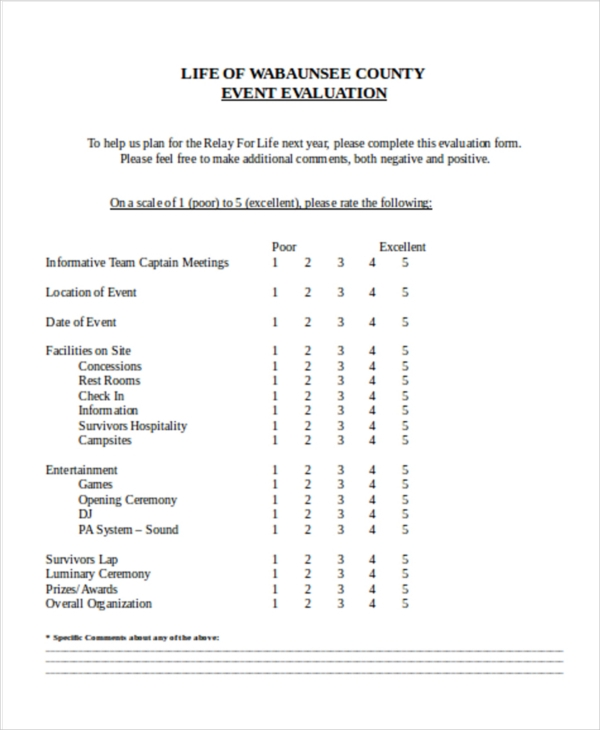 example life event evaluation form