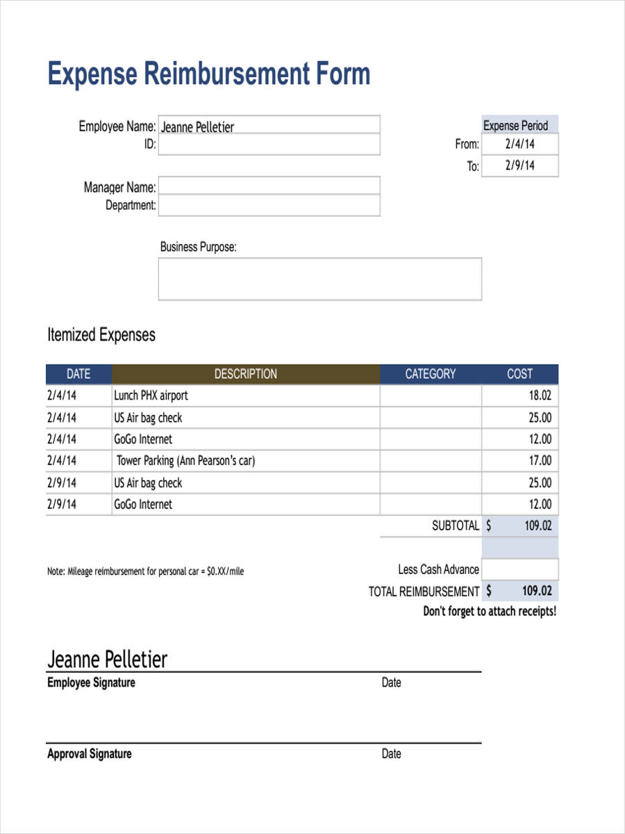 18 expense reimbursement forms in pdf. Black Bedroom Furniture Sets. Home Design Ideas