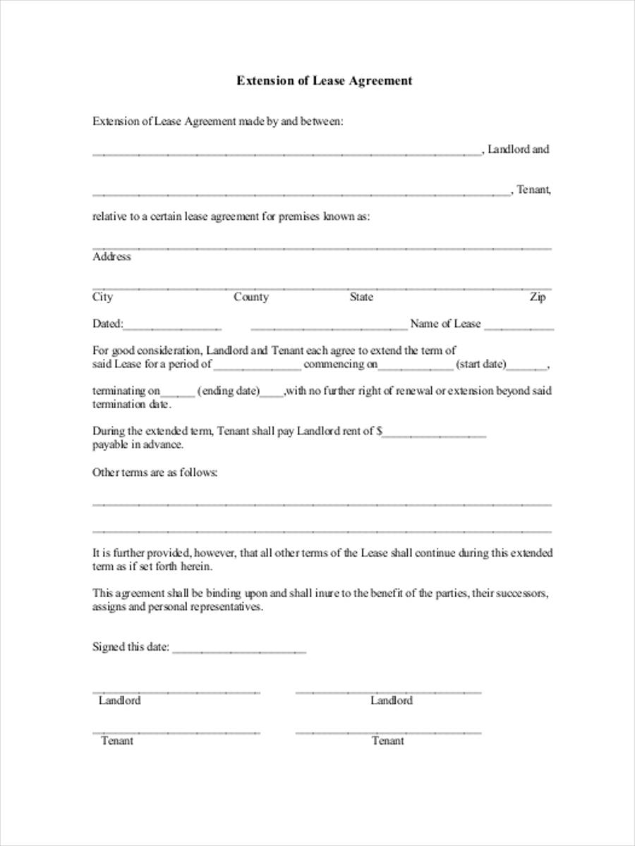 40 Sample Lease Form – Lease Extension Agreement