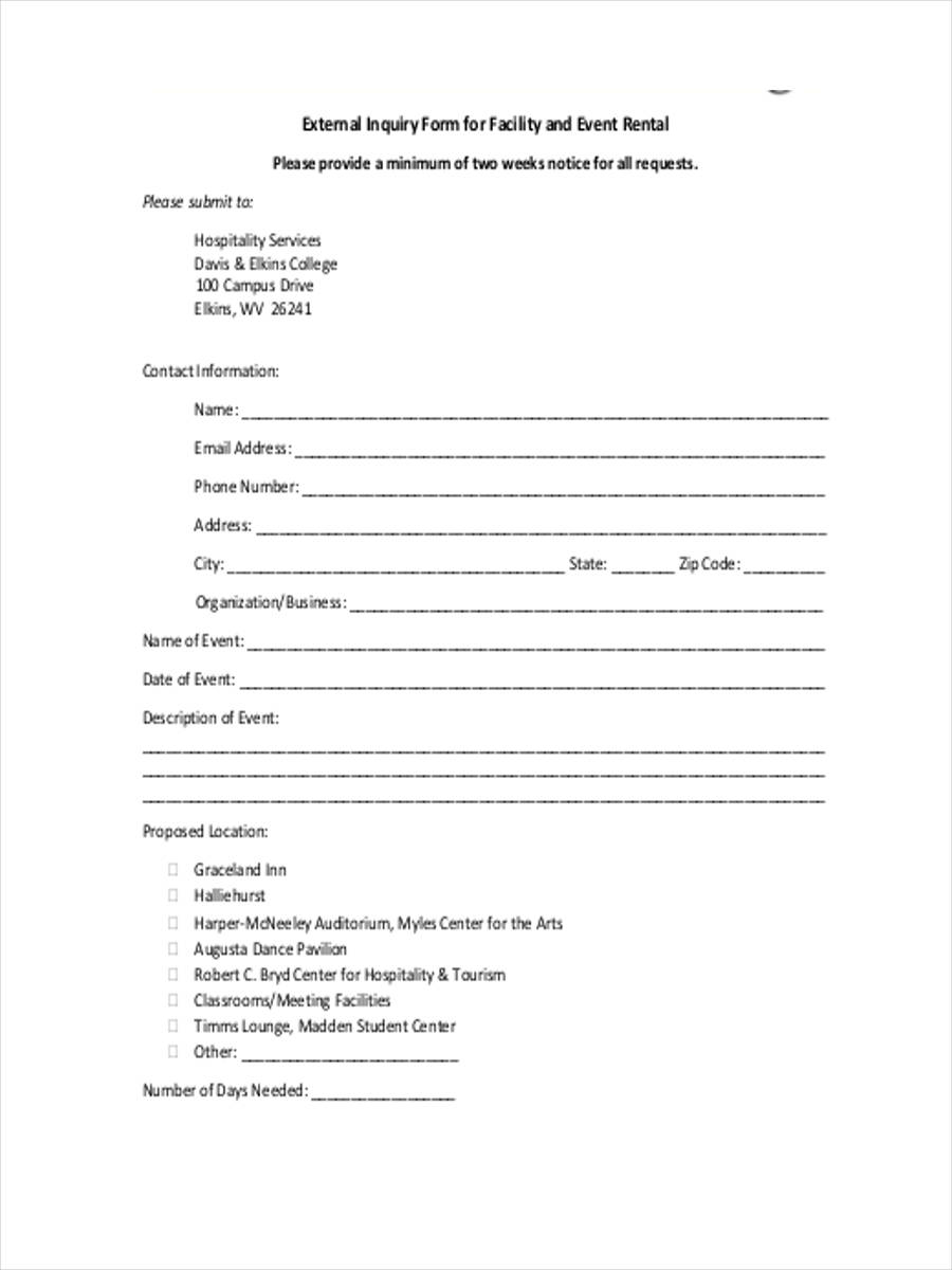 event inquiry form 7 free documents in word pdf