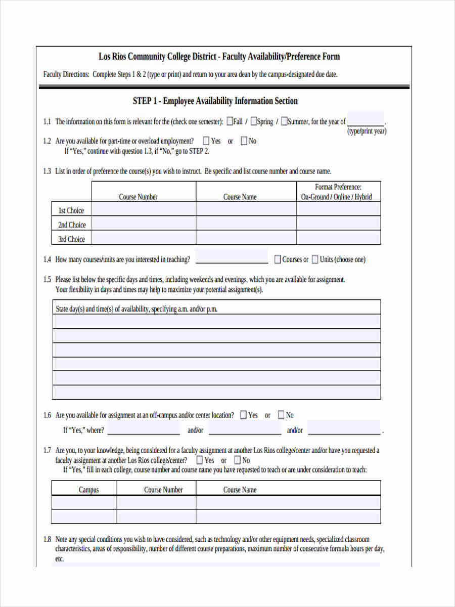 free 7  employee availability form in sample  example  format