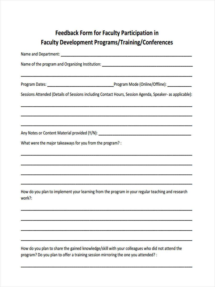faculty training feedback