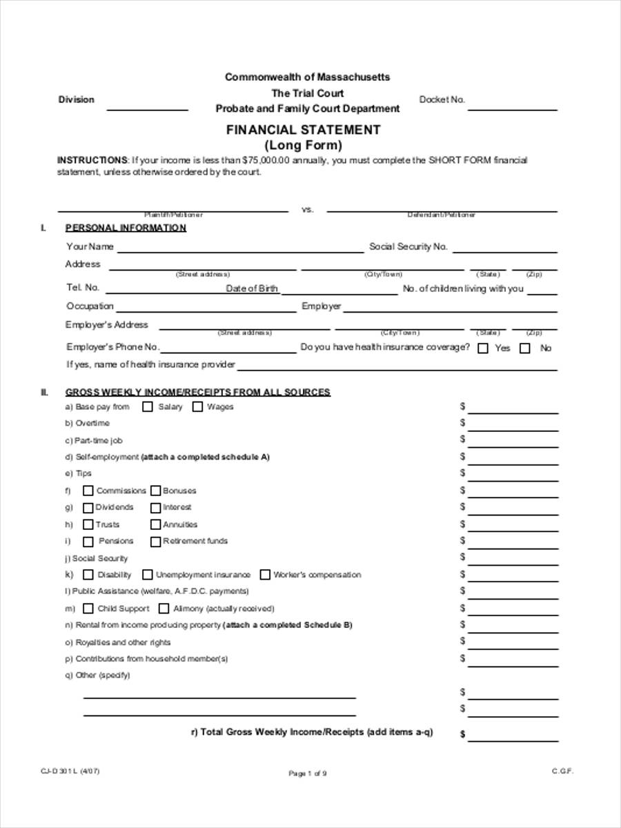 family financial statement