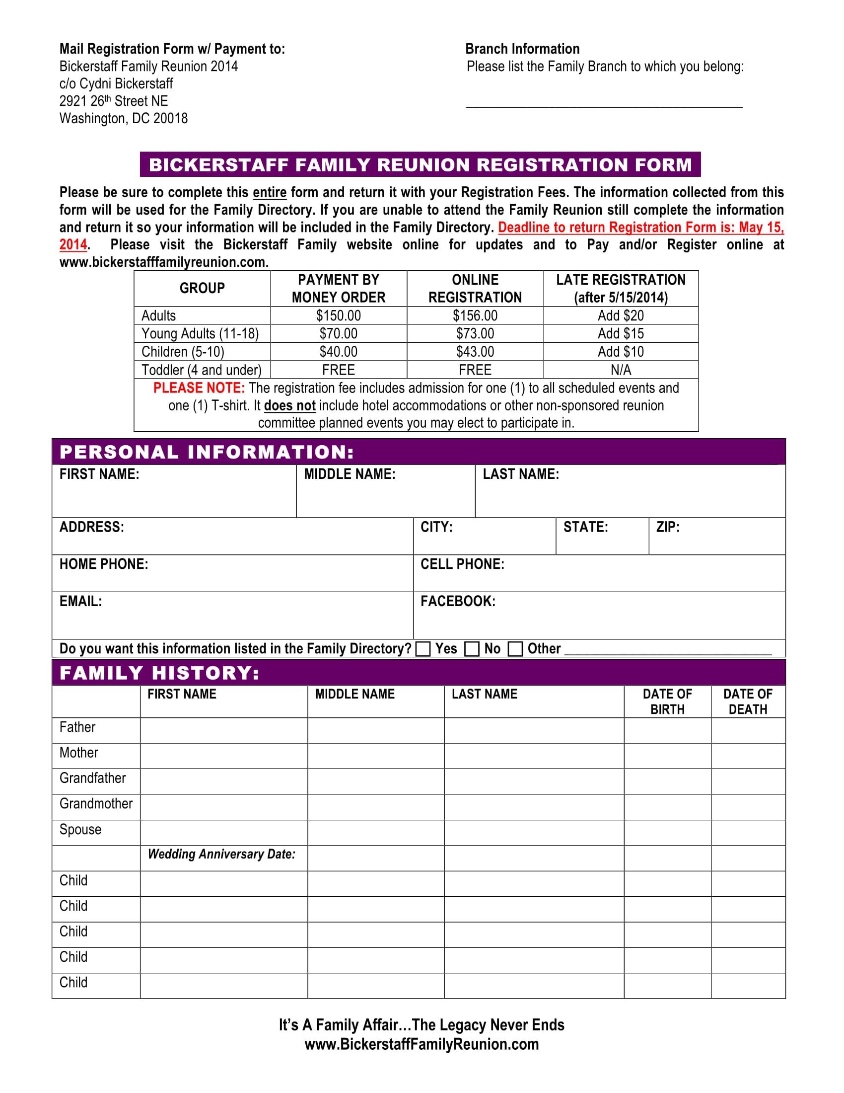 family reunion registration form 1