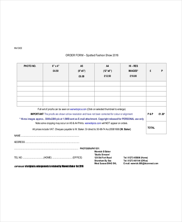 fashion order form example