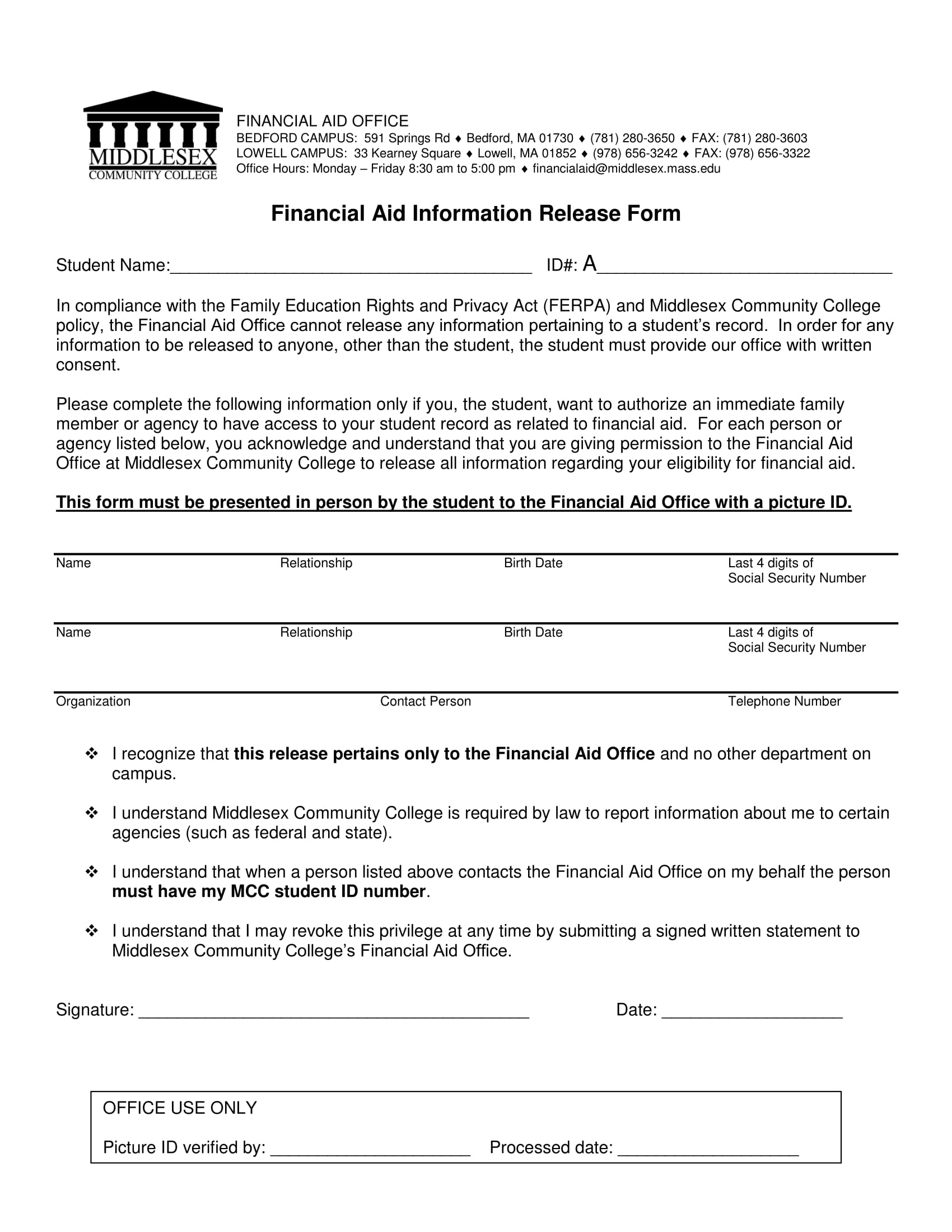 financial aid information release form 1