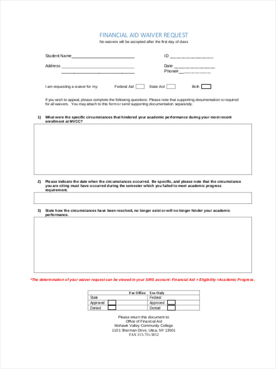 financial aid waiver form