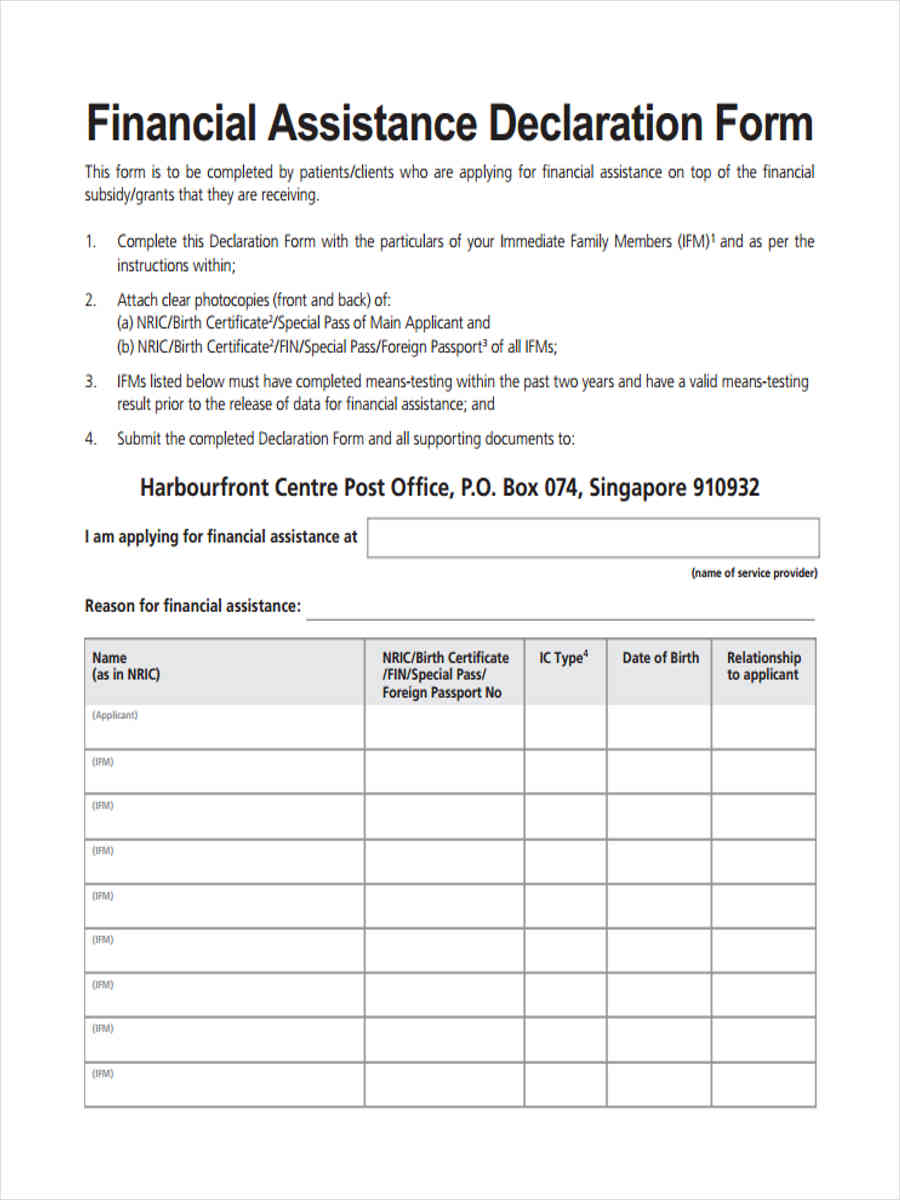 31 financial forms in pdf for Declaration document template