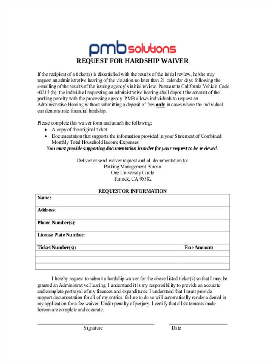financial hardship waiver1