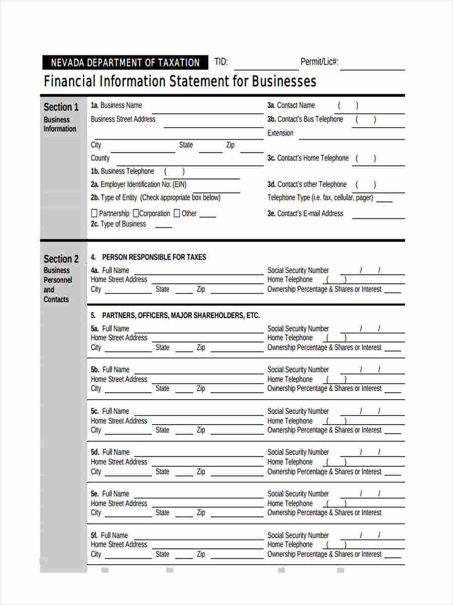 financial information statement for business