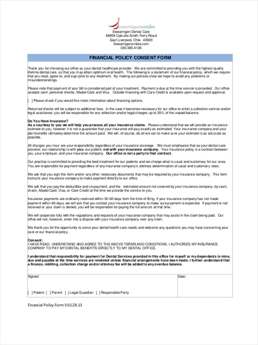 financial policy consent form