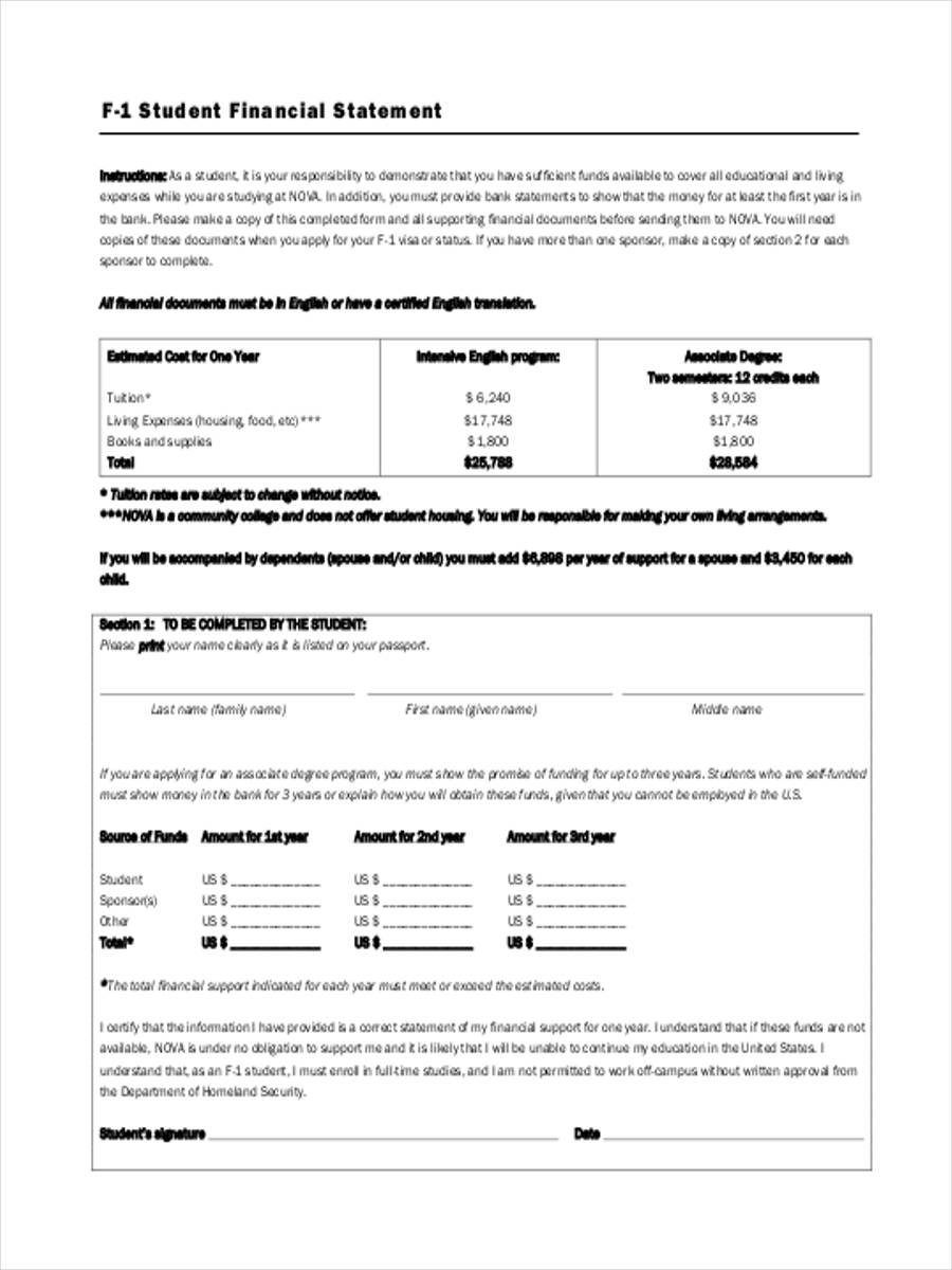 financial statement form for student