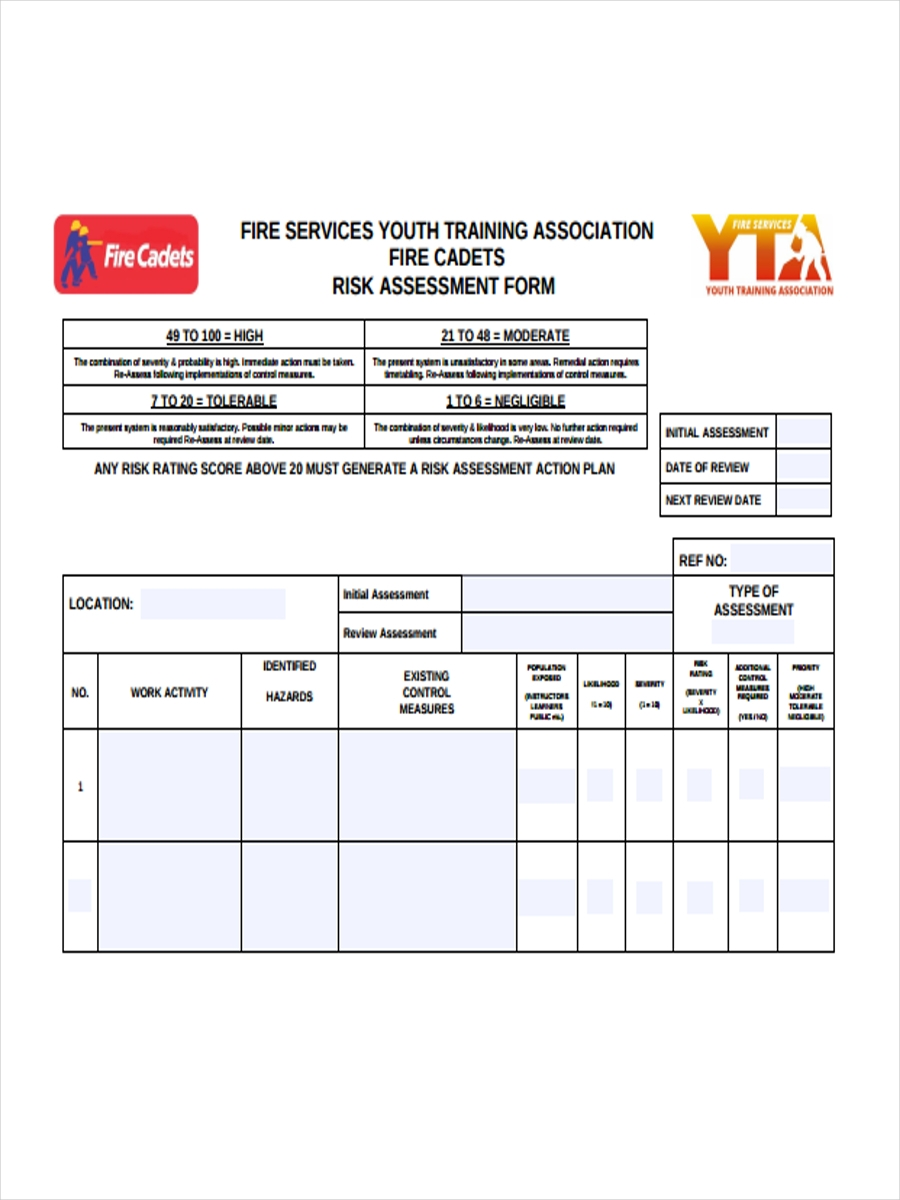 Training Risk Assessment Forms 5 Free Documents in Word PDF – Fire Service Application Form