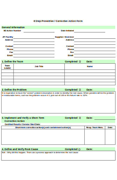 formal corrective action form