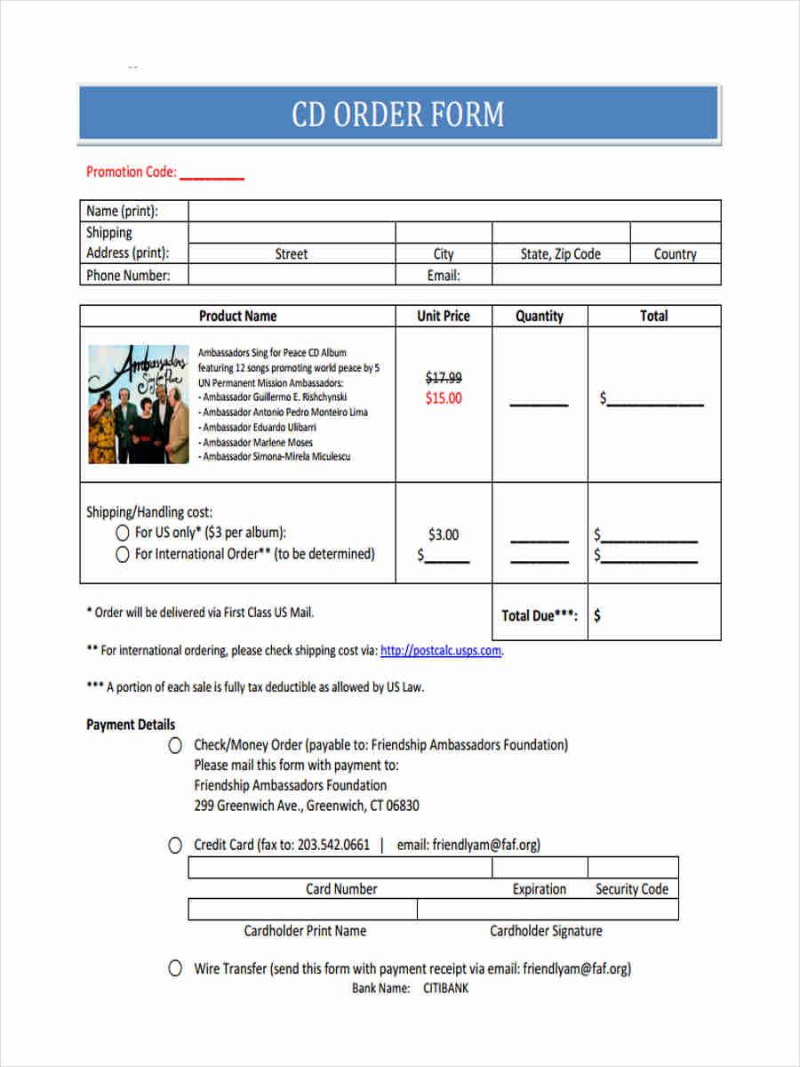 free cd order form