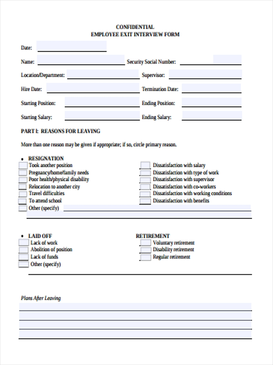free employee interview form