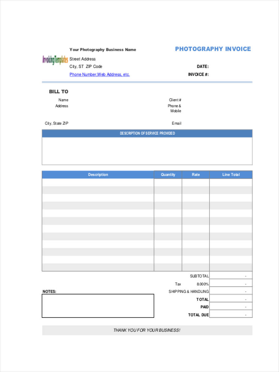 6 photography invoice forms