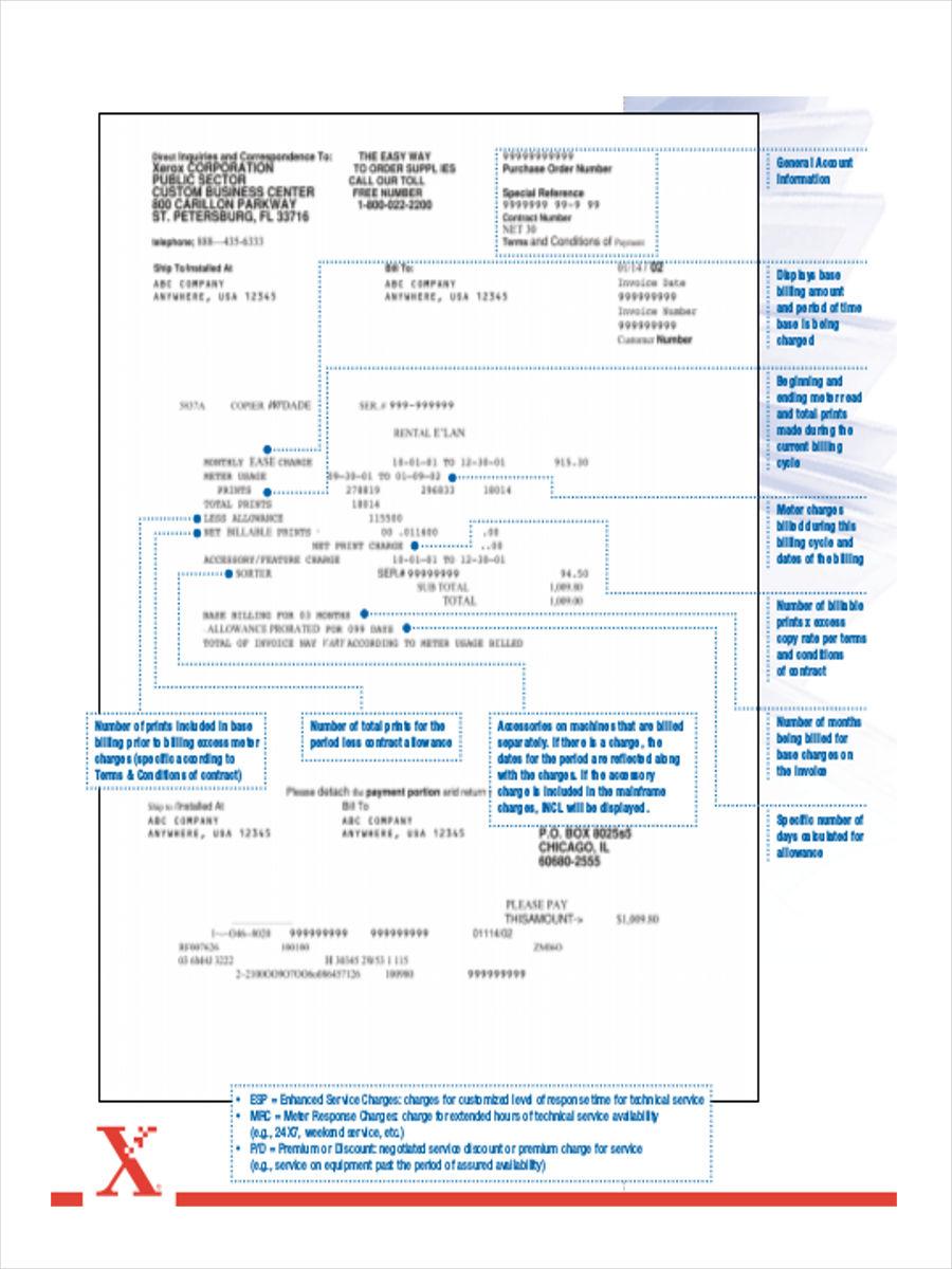 sample rent invoice