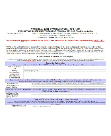 general technical evaluation form