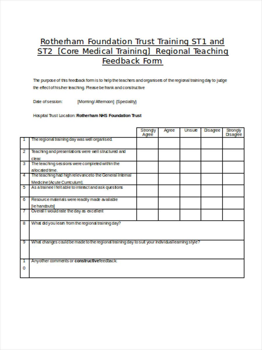 generic training feedback