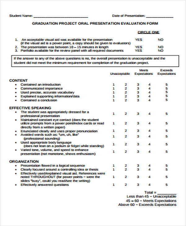 Presentation Evaluation Form In Pdf