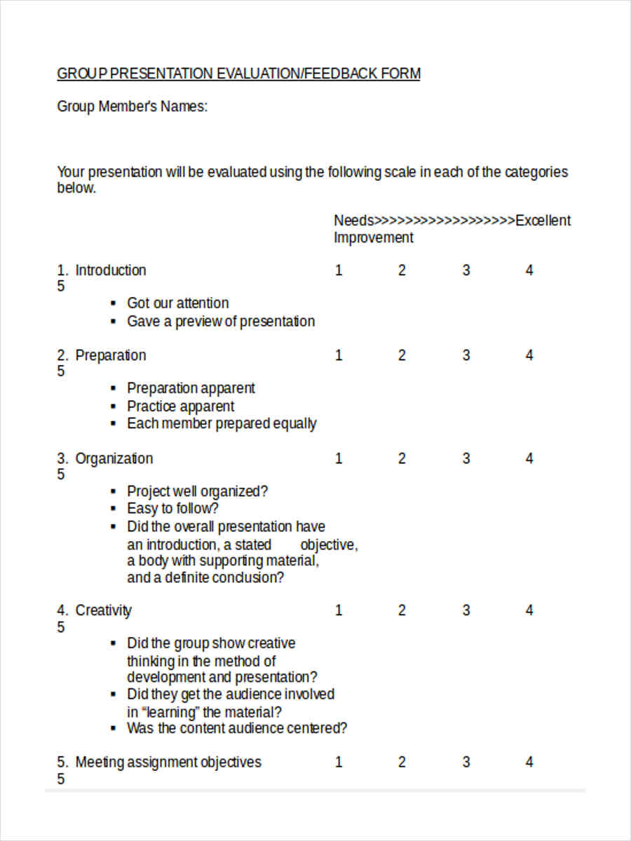 presenter evaluation form template - 16 peer evaluation form templates
