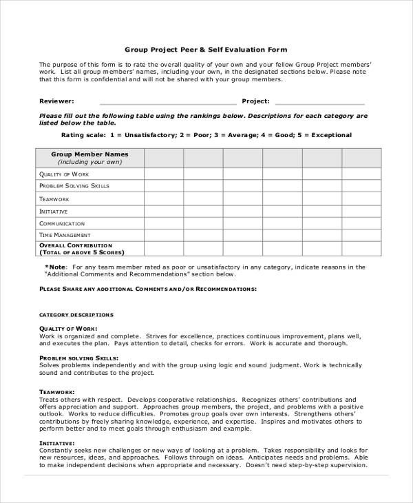 Group Self Evaluation Form Student Peer Evaluation Form Sample