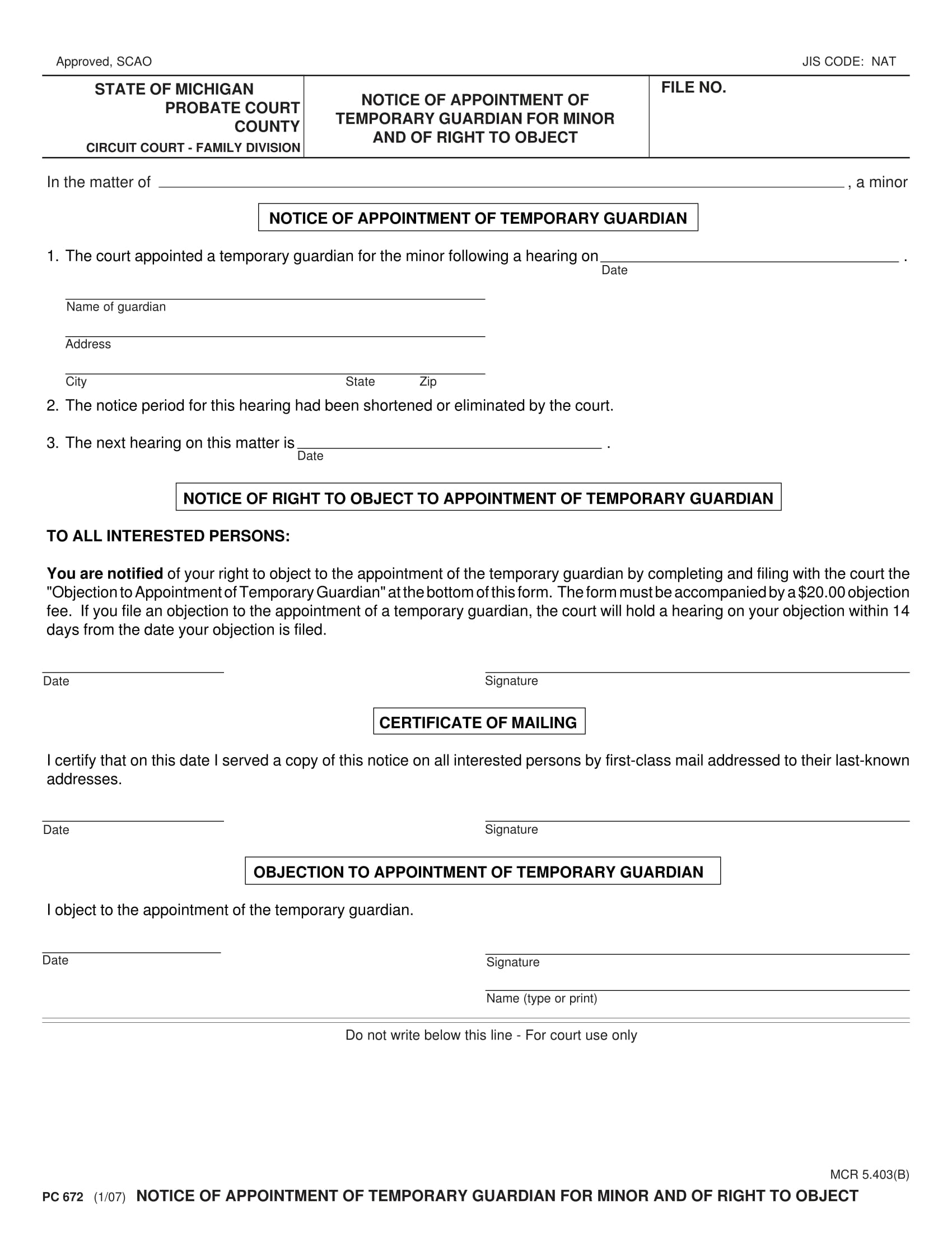 guardianship notice of appointment 1