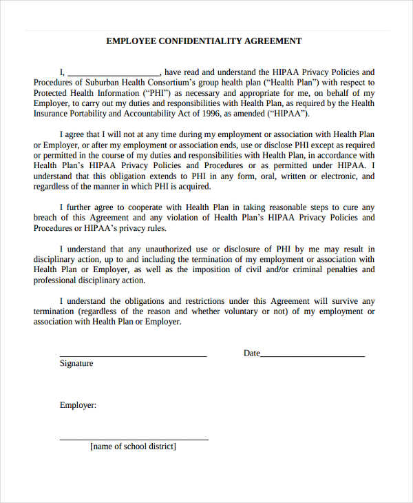 HIPAA Employee Confidentiality Agreement Form