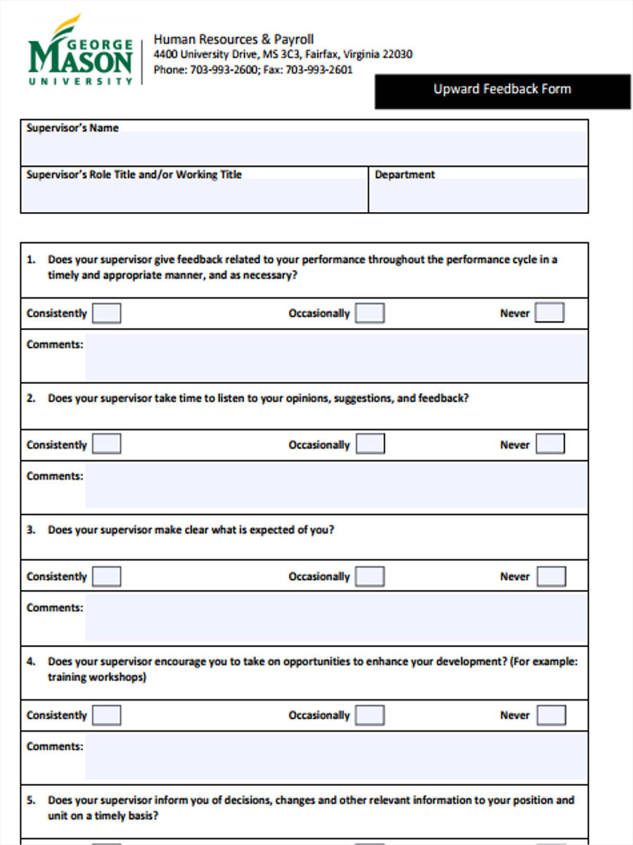 5  sample hr feedback forms