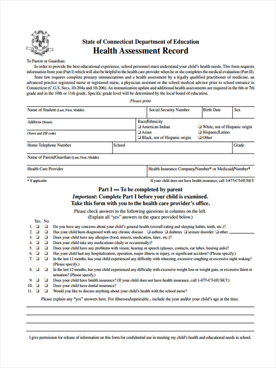 health assessment record