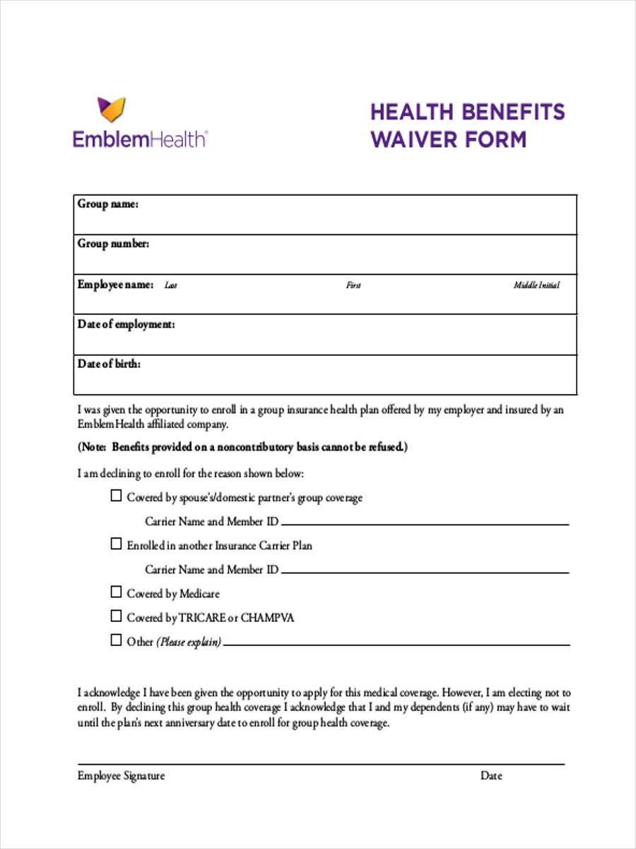 health benefits waiver form