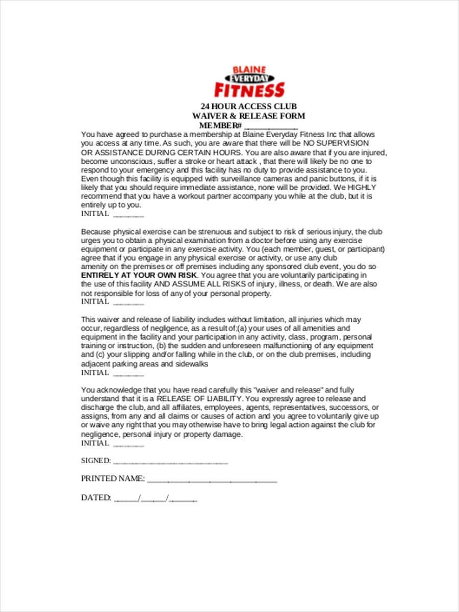 health club waiver form